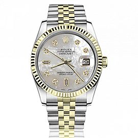 Rolex 36mm Datejust White Mother Of Pearl with Baguette & Round Diamond Dial Fluted Bezel 16233