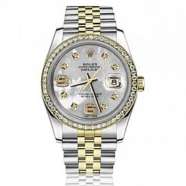 Rolex Oyster Perpetual 36mm Datejust Diamond Bezel White Mother Of Pearl Dial with Diamond 6 & 9 Numbers 16233
