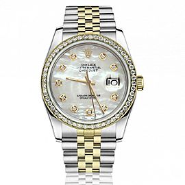 Rolex Oyster Perpetual 36mm Datejust Diamond Bezel White Mother of Pearl Diamond Dial Jubilee Watch 16233