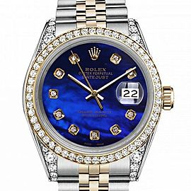 Rolex 36mm Oyster Perpetual Datejust Diamond Bezel & Lugs Blue Mother Of Pearl Diamond Dial 16233