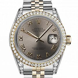 Rolex 36mm Datejust Two Tone Diamond Bezel & Lugs Slate Grey Roman Numeral Dial 16233