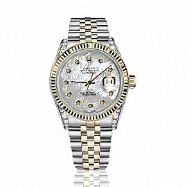 Rolex 36mm Datejust Two Tone Vintage Fluted Bezel With Diamond Lugs White MOP Mother Of Pearl Dial 16233
