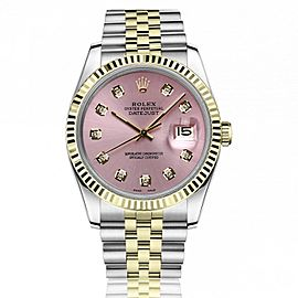 Rolex 36mm Datejust Metallic Pink Diamond Dial 18k Yellow Gold & Stainless Steel Watch 16233