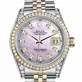 Rolex 36mm Datejust Pink Mother Of Pearl Dial with Diamond Markers Diamond Bezel & Lugs 16233