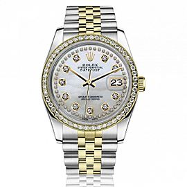 Rolex 36mm Datejust Diamond Bezel White Mother of Pearl String Diamond Dial Jubilee Band 16233