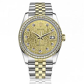 Rolex 36mm Datejust Diamond Bezel with Discreet Jubilee Design Champagne Diamond Dial 16233