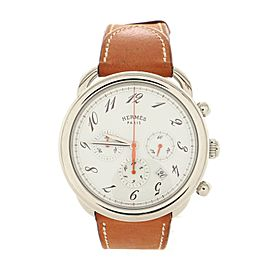 Hermes Arceau Chronograph Automatic Watch Stainless Steel and Leather 43