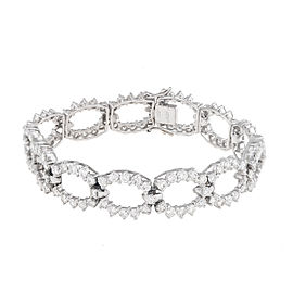 18K White Gold Diamond Circle Link Bracelet