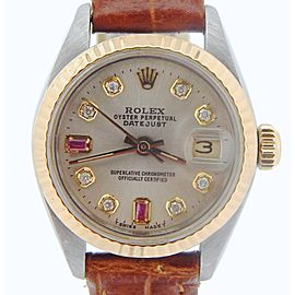 Ladies Rolex Two-Tone 14K/SS Datejust Silver Diamond Ruby 6917