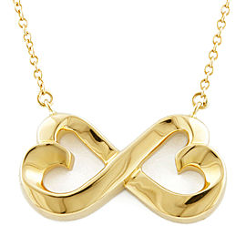 TIFFANY&Co. 18K yellow Gold Double rubbing heart Necklace CHAT-337