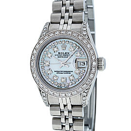 Rolex Datejust Stainless Steel & 18K White Gold with White Mother Of Pearl Diamond Dial 26mm Womens Watch