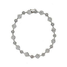 14k White Gold Diamond Cluster Line Bracelet
