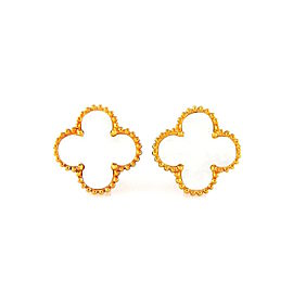 Van Cleef & Arpels Alhambra 18K Yellow Gold Mother of Pearl Earrings