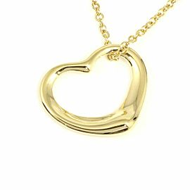 Tiffany & Co. 18K Yellow Gold Open Heart Pendant Necklace CHAT-31