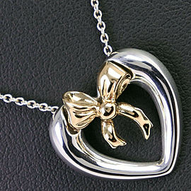 TIFFANY & Co. Silver/18k yellow gold Heart/ribbon Necklace