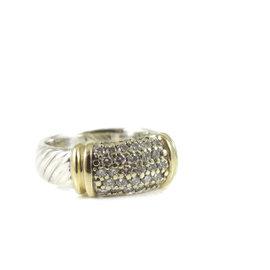 David Yurman 925 Sterling Silver & 18K Yellow Gold 0.43tcw Diamond Wide Metro Ring Size 6.25