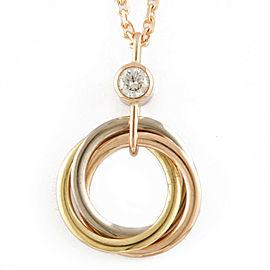 CARTIER 18K Pink Goldx 18K yellow goldx 18K white gold Diamond Trinity 3 color Necklace CHAT-232