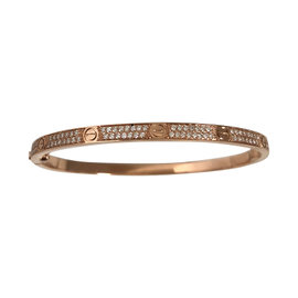 Cartier Love 18K Rose Gold with Pave Diamond Bracelet SM Size 17
