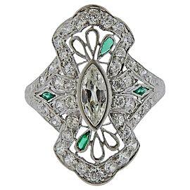 Art Deco Platinum Diamond Emerald Ring