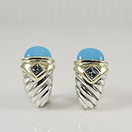 David Yurman Sterling Silver 14K Yellow Gold Turquoise Blue Topaz Small Torch Earrings