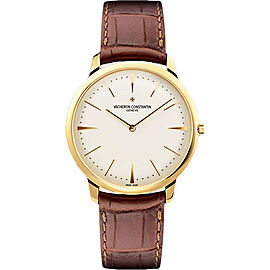 Vacheron Constantin Patrimony 81180000J-9118 18K Yellow Gold & Leather Manual Wind with Silver Dial 40mm Mens Watch