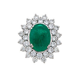 Platinum Colombian Cabochon Emerald and Diamond Ring