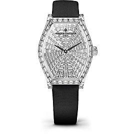 Vacheron Constantin Malte 81610/000G-B007 18K White Gold & Satin with Diamond Pave Dial 29.30mm Womens Watch