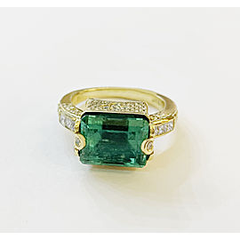 Judith Ripka Emerald Yellow Gold Ring with Diamonds