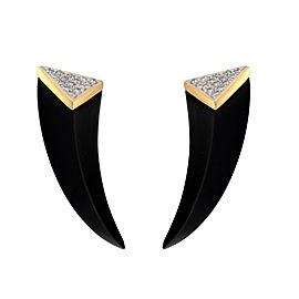 18k Yellow Gold Onyx and Diamond Earrings