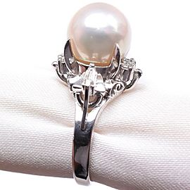 Platinum/Pearl diamond Ring NST-383
