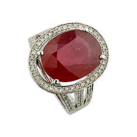 14K White Gold 8.12ct Diamond Ruby Solitaire Ring Size 6.75