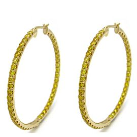 Leibish 18K Yellow Gold with 3.30ctw Orangy Yellow Diamond Hoop Earrings