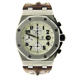 Stainless Steel AP Royal Oak Offshore Safari with Brown Strap