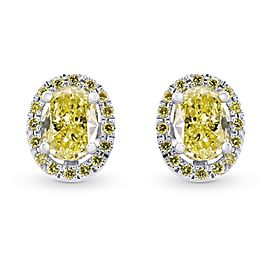 Leibish 18K Yellow Gold with 1.31ctw Diamond Stud Earrings