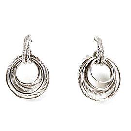 David Yurman Sterling Silver .15tcw Diamond Crossover Hoop Drop Earrings