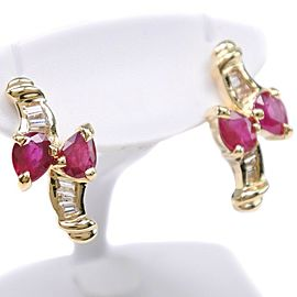 18k yellow gold/Ruby Earring