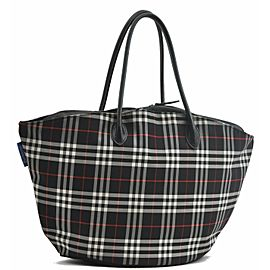 Burberrys BLUE LABEL Check Nylon Hand Bag Black