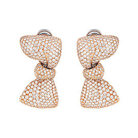 18K Yellow Gold Palmiero Pave Diamnd Bow Earrings