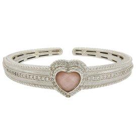 Judith Ripka 925 Sterling Silver Pink Chaceldony & Diamonique Bangle Bracelet