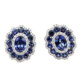 Gregg Ruth 18K White Gold Sapphire and Diamond Earrings