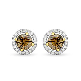 Leibish 18K White and Rose Gold Fancy Brown Round Brilliant Diamond Halo Earrings