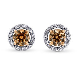 Leibish 18K White and Rose Gold Fancy Brown Halo Stud Earrings