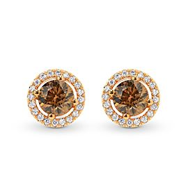 Leibish 18K Rose Gold Fancy Brown Round Diamond Halo Earrings