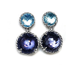 David Yurman Sterling Silver Blue Topaz Black Orchid Earrings