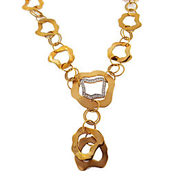 14K Yellow Gold Diamond Open Watermark Link Necklace