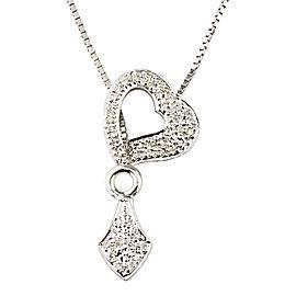 14K White Gold 0.22ct Diamond Unique Heart Lariat Necklace