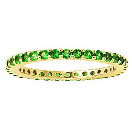 14K Yellow Gold & 1ct Tsavorite Stackable Eternity Band Ring Size 8