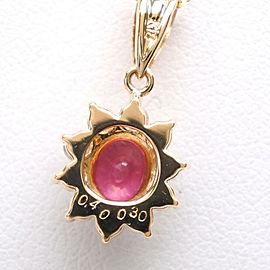 Necklace K18 yellow gold/diamond/Ruby Women