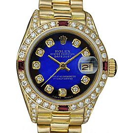 Rolex Datejust 6917 18K Yellow Gold with Blue Diamond Dial Vintage 26mm Womens Watch