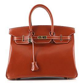 Hermes Birkin Handbag Brique Box Calf with Gold Hardware 35
